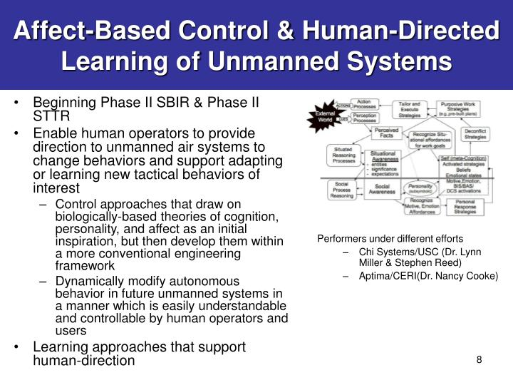 Affect-Based Control & Human-Directed Learning of Unmanned Systems