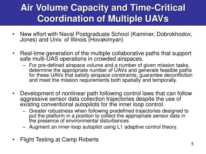 Air Volume Capacity and Time-Critical Coordination of Multiple UAVs