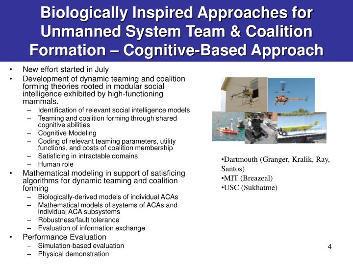 Biologically Inspired Approaches for Unmanned System Team & Coalition Formation – Cognitive-Based Approach
