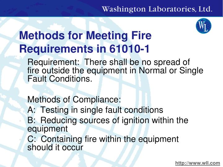 Methods for Meeting Fire Requirements in 61010-1