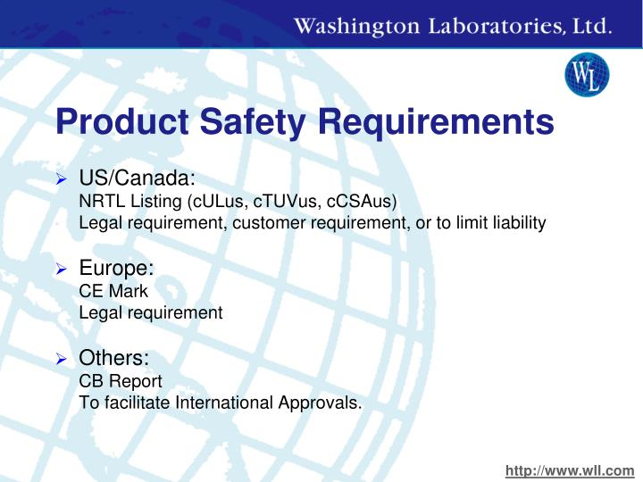 Product safety requirements
