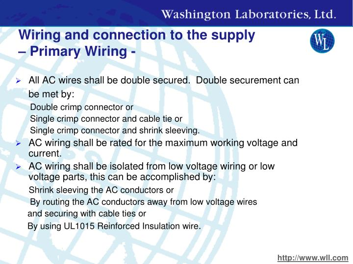 Wiring and connection to the supply