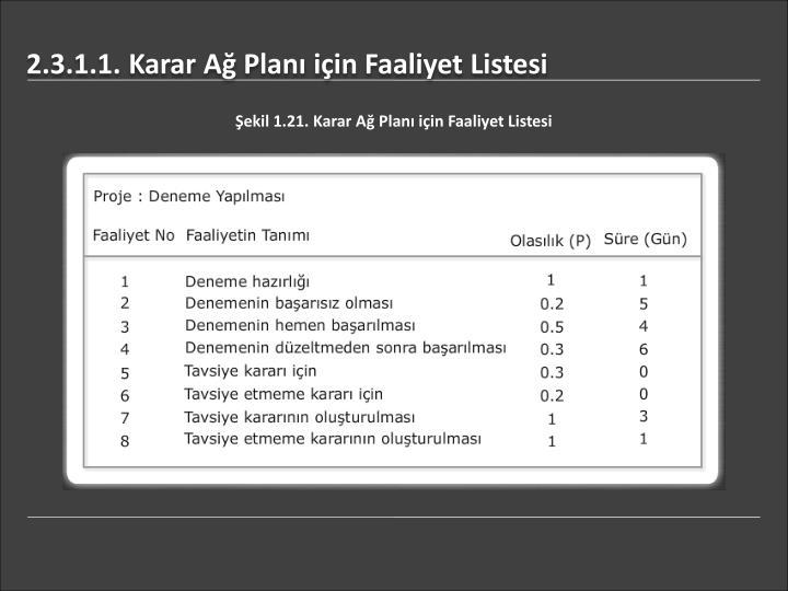2.3.1.1. Karar Ağ Planı için Faaliyet Listesi