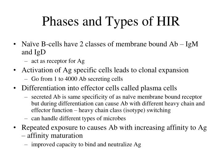 Phases and types of hir