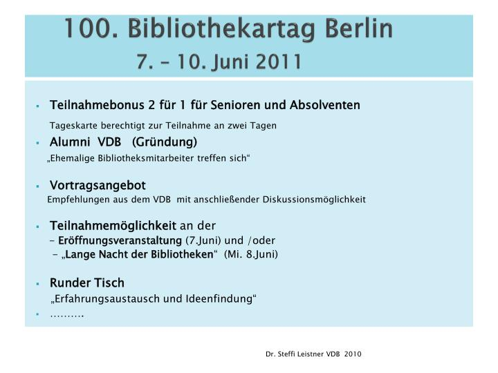 100. Bibliothekartag Berlin