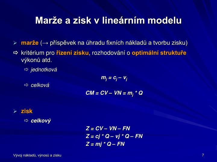 Marže a zisk v lineárním modelu