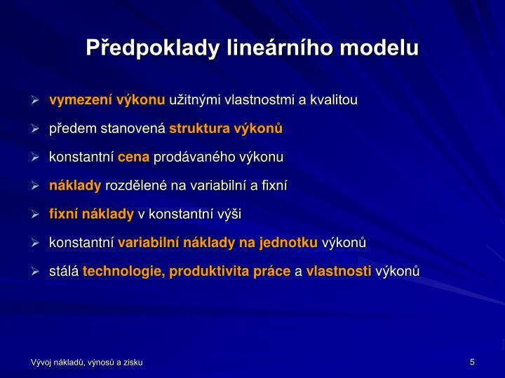 Předpoklady lineárního modelu