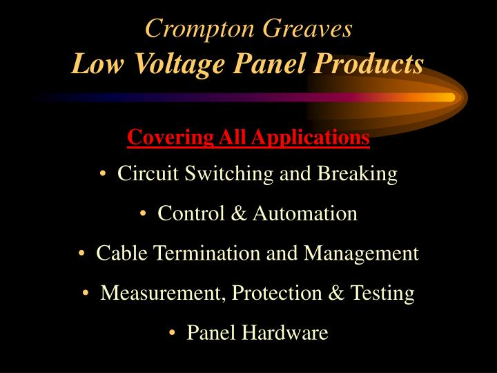 Crompton greaves low voltage panel products1