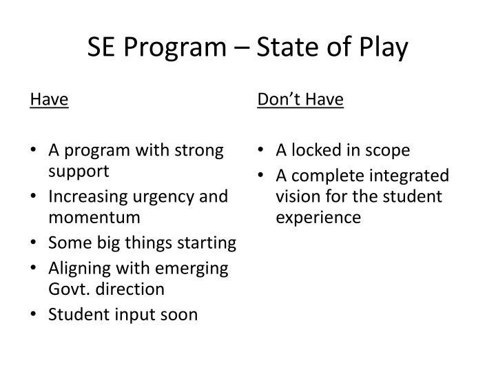 SE Program – State of Play