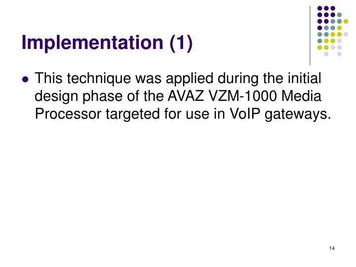 Implementation (1)