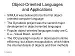 object oriented languages and applications