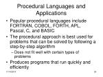 procedural languages and applications