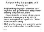 programming languages and paradigms
