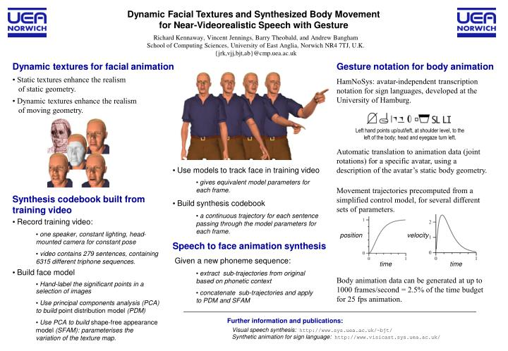 Dynamic facial textures and synthesized body movement for near videorealistic speech with gesture