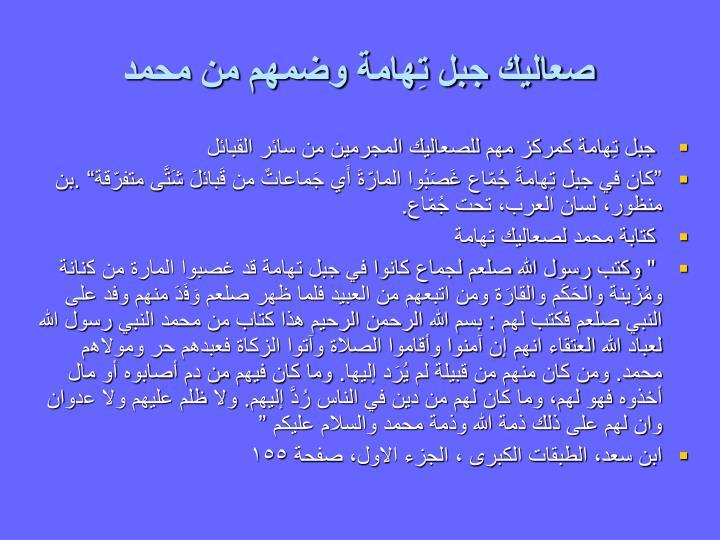 صعاليك جبل تِهامة وضمهم من محمد