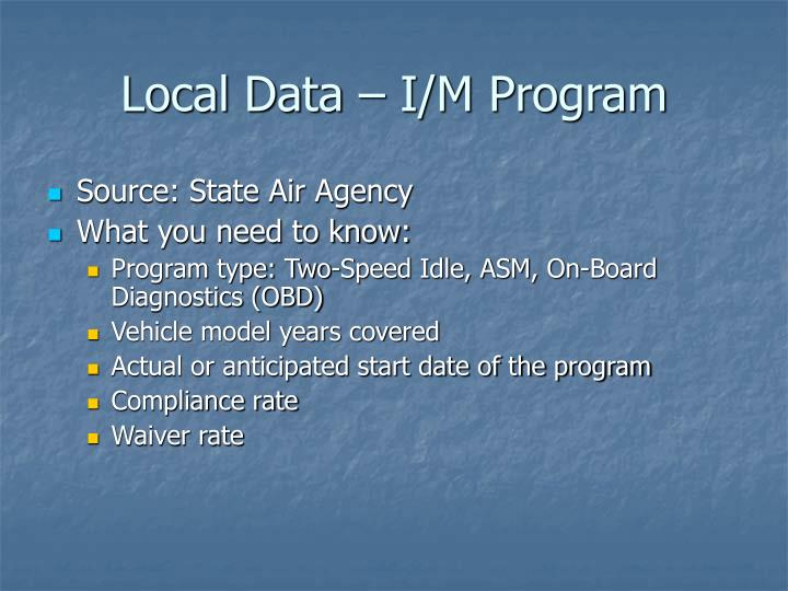 Local Data – I/M Program