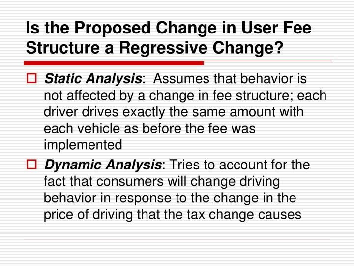 Is the Proposed Change in User Fee Structure a Regressive Change?