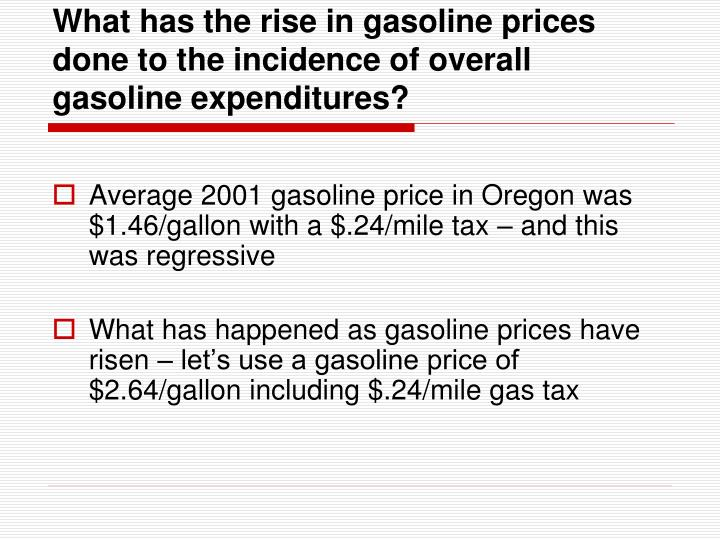 What has the rise in gasoline prices done to the incidence of overall gasoline expenditures?