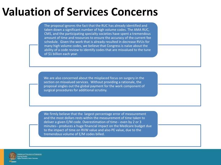 Valuation of Services Concerns