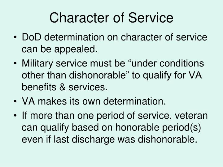Character of Service