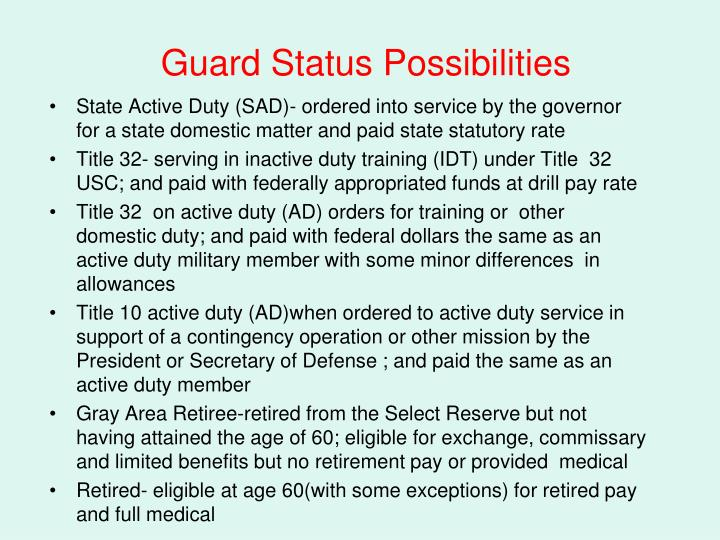 Guard Status Possibilities