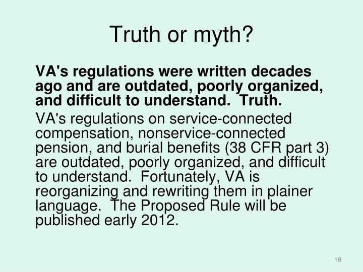 Truth or myth?