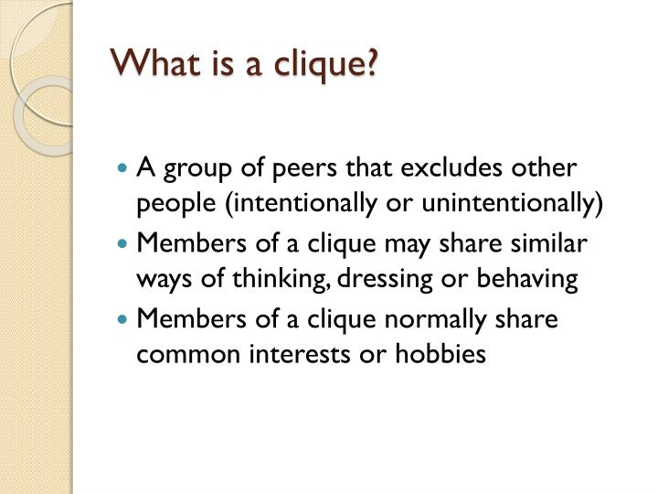 PPT - Cliques PowerPoint Presentation - ID:6611061