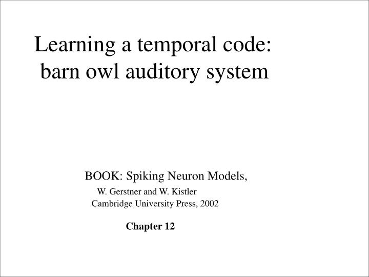 Learning a temporal code: