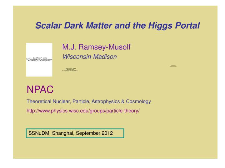 Scalar dark matter and the higgs portal