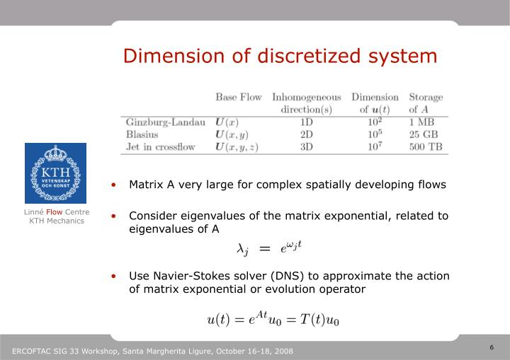 Dimension of discretized system