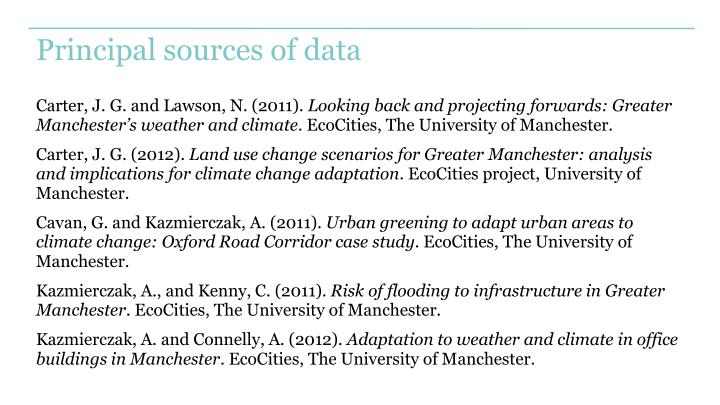 Principal sources of data