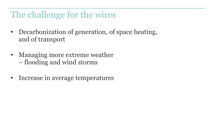The challenge for the wires