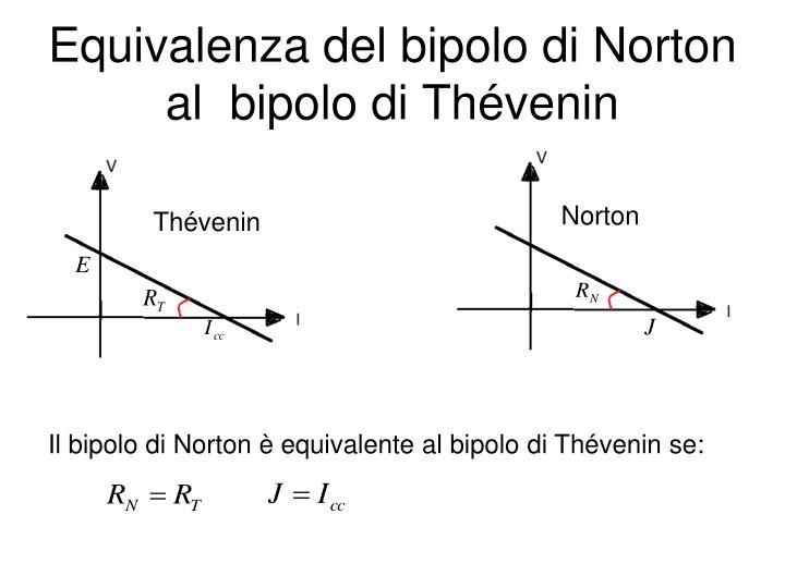 Equivalenza del bipolo di Norton al  bipolo di Thévenin