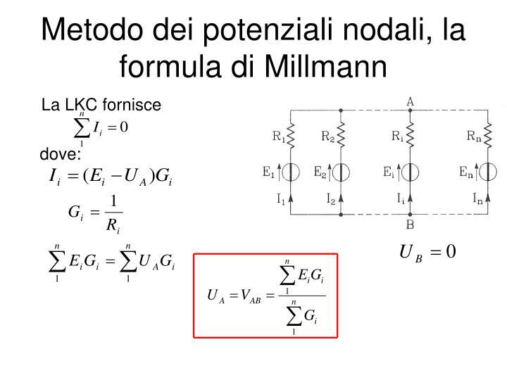 Metodo dei potenziali nodali, la formula di Millmann