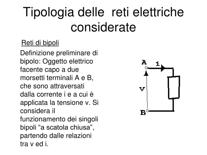 Tipologia delle  reti elettriche considerate