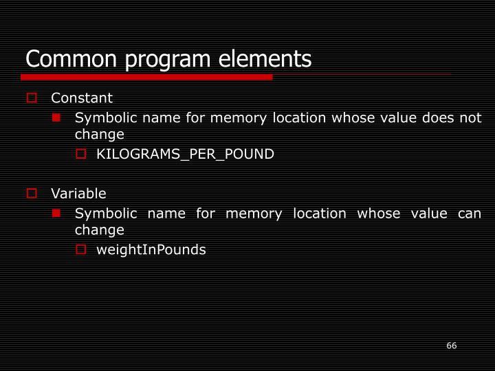 Common program elements