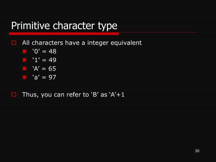 Primitive character type