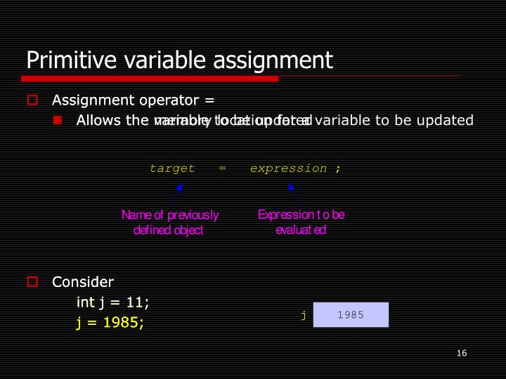 Primitive variable assignment