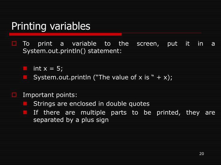 Printing variables