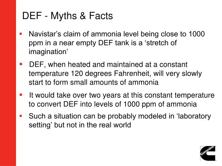 DEF - Myths & Facts