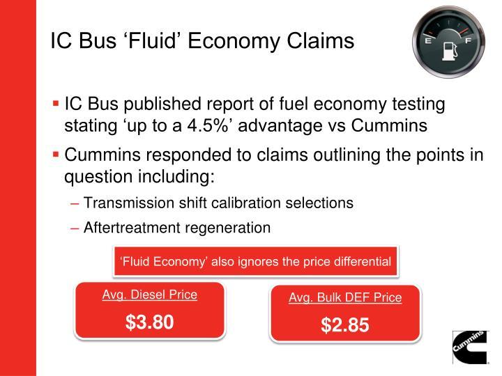IC Bus 'Fluid' Economy Claims