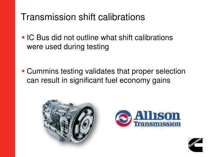 Transmission shift calibrations