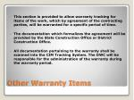 other warranty items