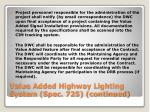 value added highway lighting system spec 725 continued