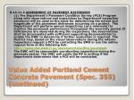value added portland cement concrete pavement spec 355 continued