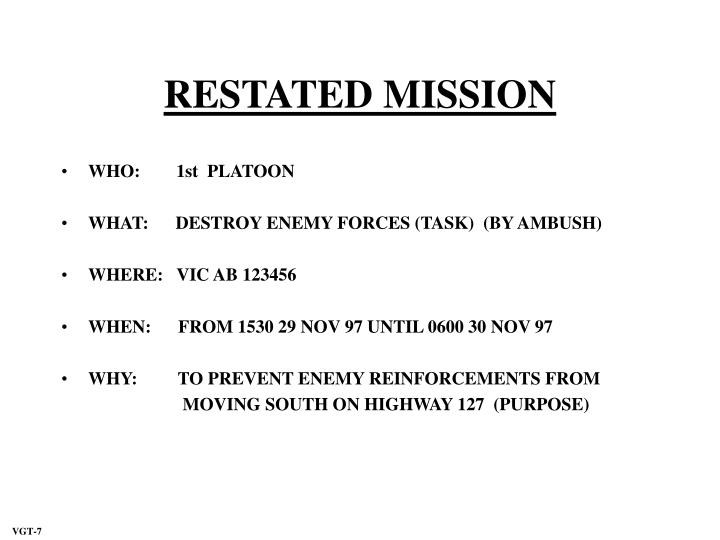 RESTATED MISSION