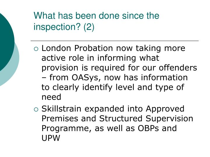 What has been done since the inspection? (2)