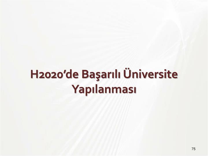 H2020'de Başarılı Üniversite Yapılanması