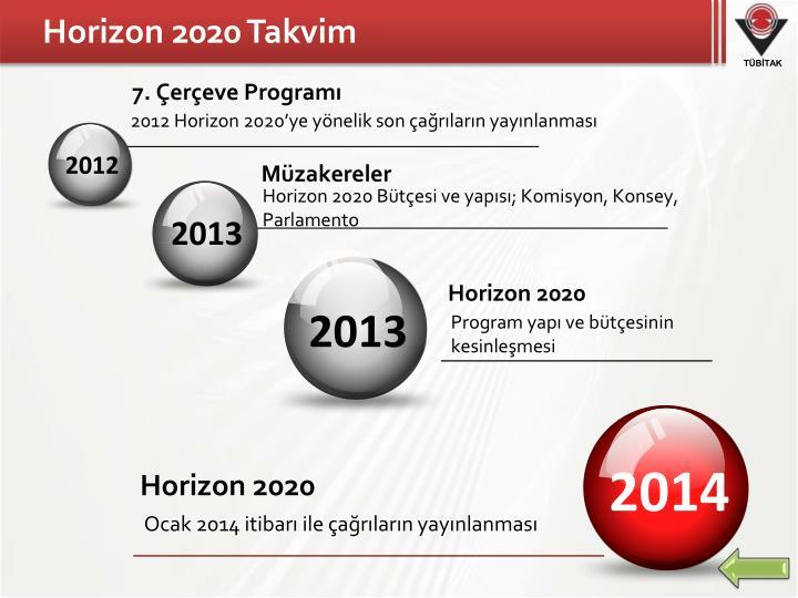 Horizon 2020 Takvim