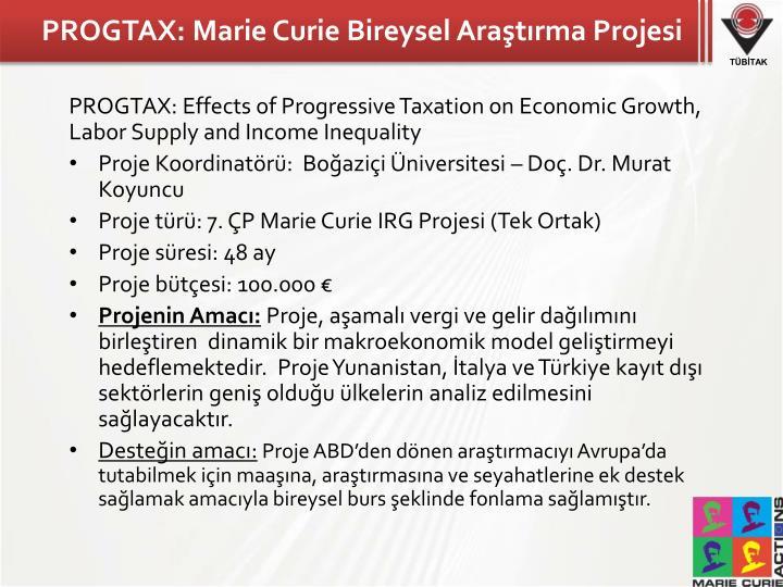 PROGTAX: Marie Curie Bireysel Araştırma Projesi